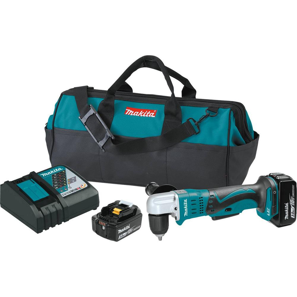 Makita 18-Volt LXT Lithium-Ion 3/8 in. Cordless Angle Drill Kit with (2) Batteries 3.0Ah, Charger, Tool Bag