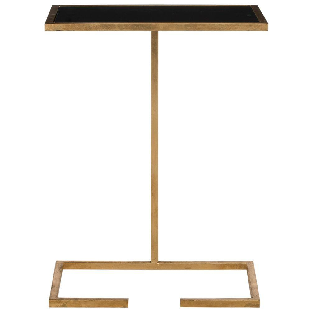Neil Gold and Black Glass Top End Table