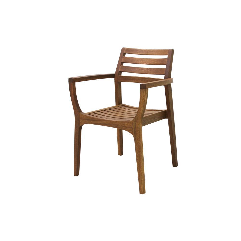 Danish stackable eucalyptus outdoor dining chair 4 pack