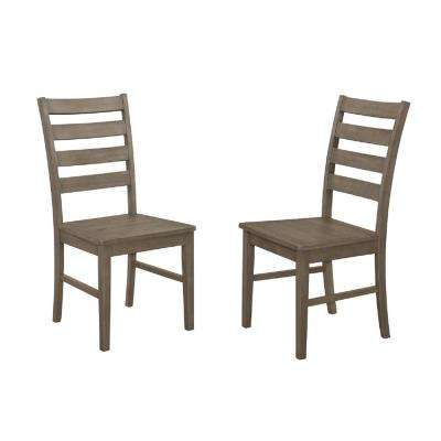 Aged Grey Wood Ladder Back Dining Chair (Set of 2)