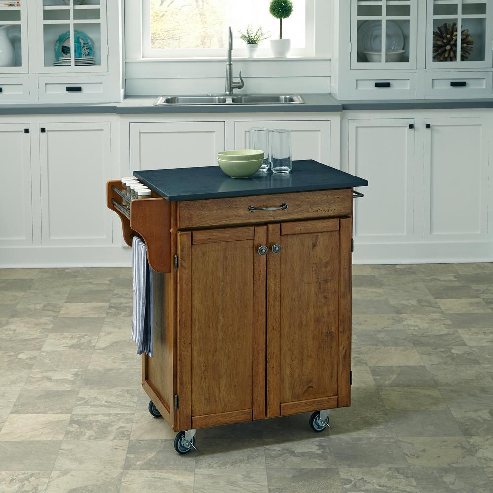 Home Styles Cuisine Cart Warm Oak Kitchen Cart With Quart...