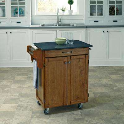 Cuisine Cart Warm Oak Kitchen Cart With Quartz Top