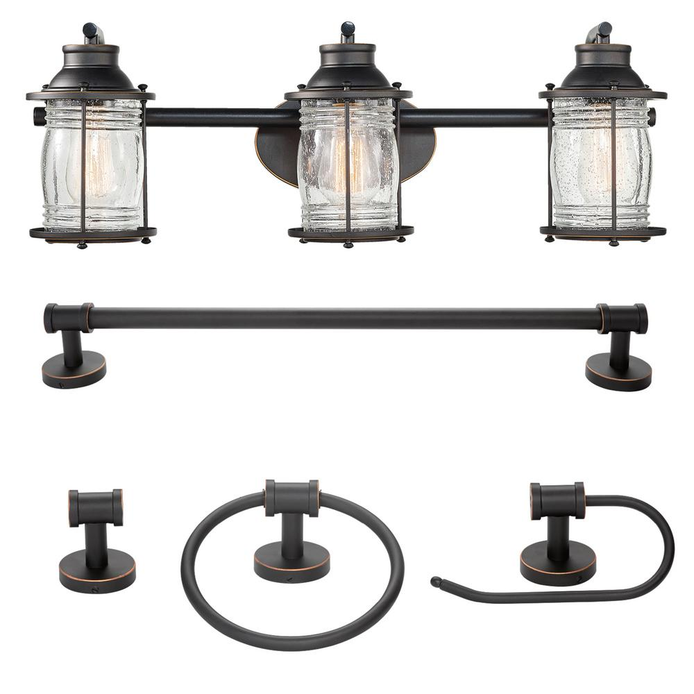 Bayfield 3-Light Oil Rubbed Bronze Vanity Light With Seeded Glass Shades and Bath Set