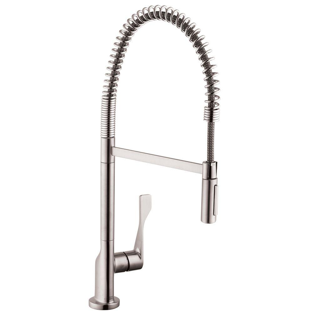 Hansgrohe Axor Citterio Semi-Pro Single-Handle Pull-Down Sprayer Kitchen  Faucet in Steel Optik