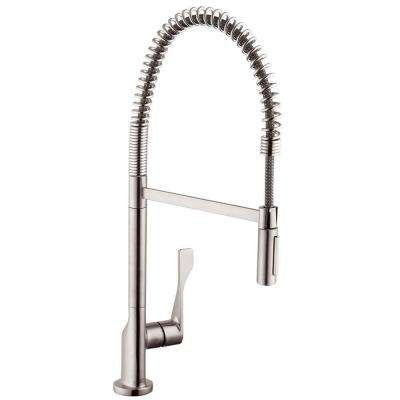 Axor Citterio Semi-Pro Single-Handle Pull-Down Sprayer Kitchen Faucet in Steel Optik