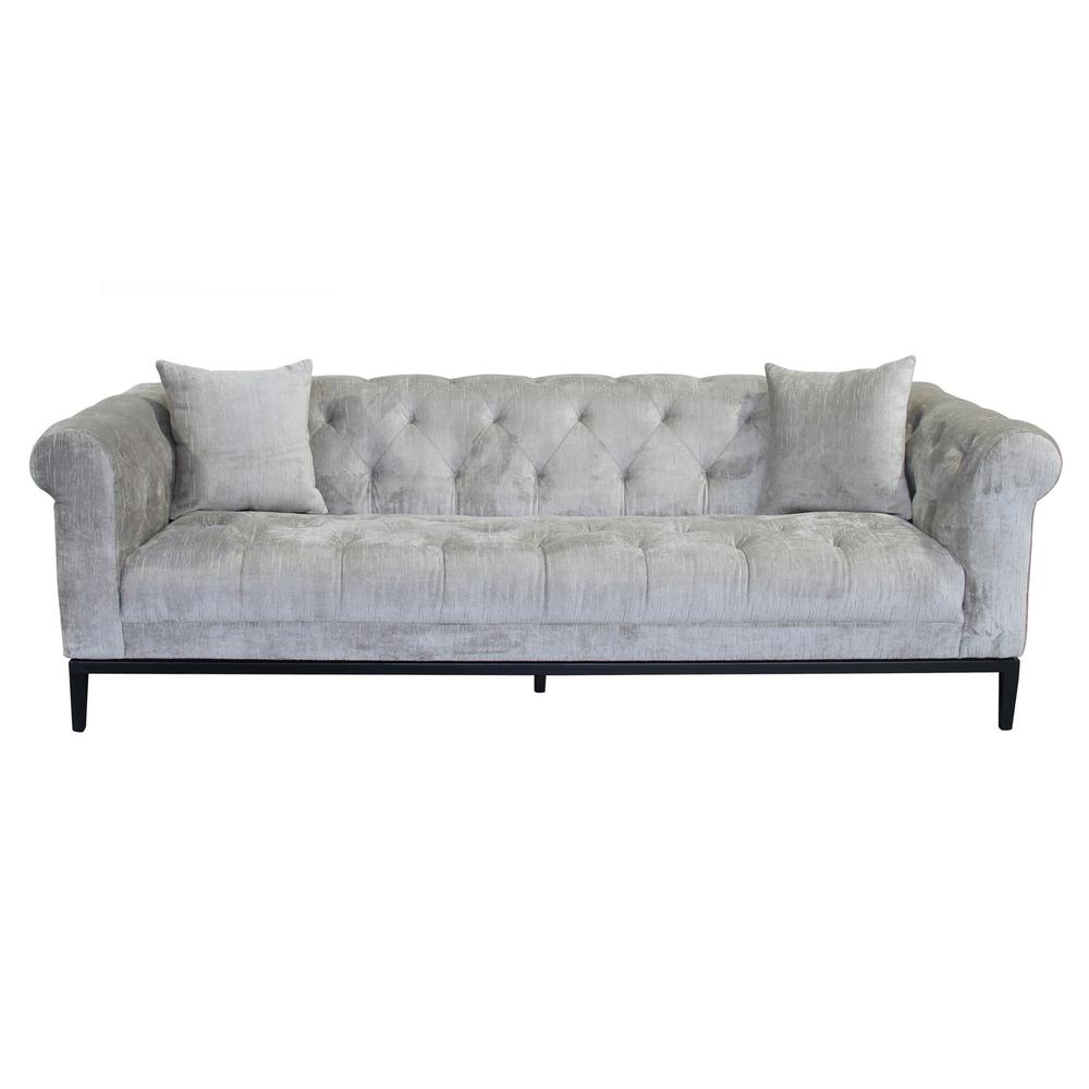 Armen Living Glamour Beige Fabric Sofa