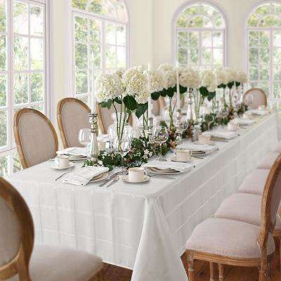 60 in. W x 144 in. L White Elrene Elegance Plaid Damask Fabric Tablecloth