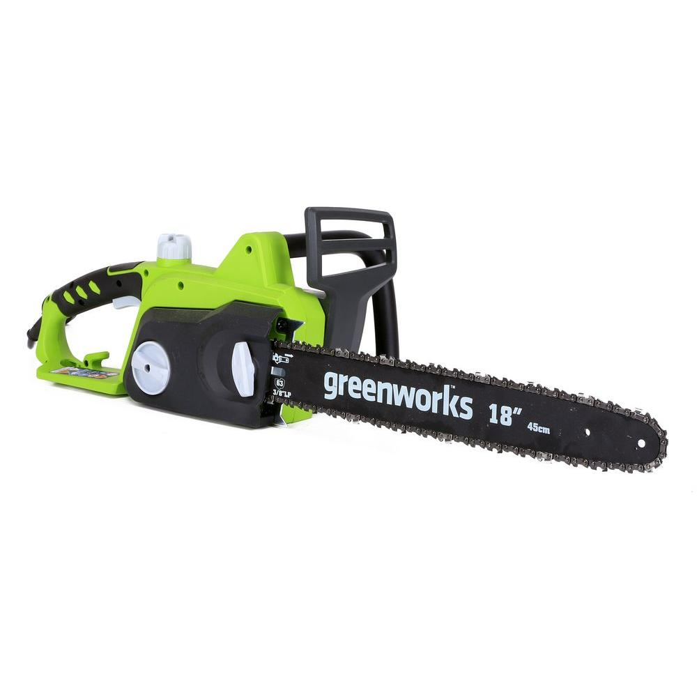 Greenworks 18 in 145 amp electric chainsaw gw20332 the home depot 145 amp electric chainsaw gw20332 the home depot greentooth Gallery