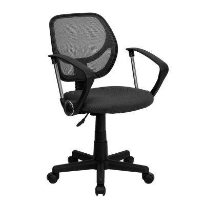 Gray Mesh Swivel Task Chair with Arms