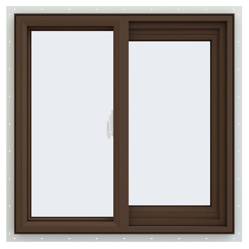 Jeld wen 23 5 in x 23 5 in v 2500 series brown painted for Right window