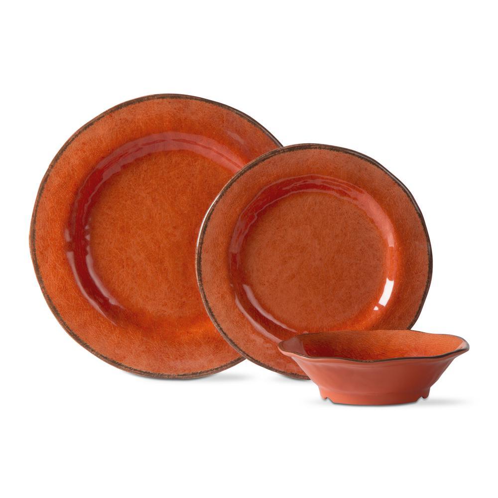 Lanai Melamine Orange Dinnerware Set (12-Pack)