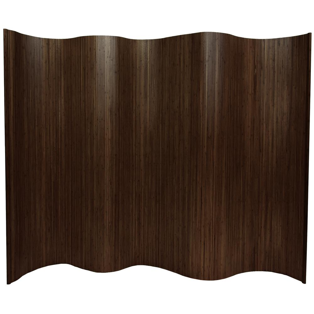 Oriental Furniture 6 ft Dark Mocha Bamboo Wave 1 Panel Room Divider