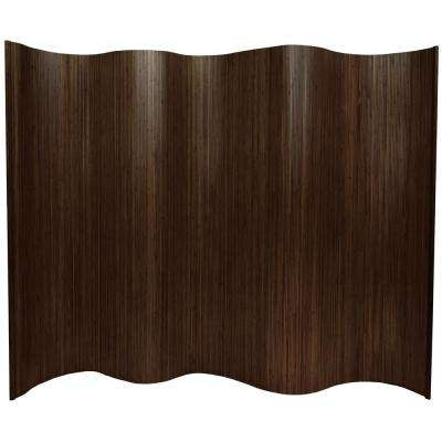 6 ft. Dark Mocha Bamboo Wave 1-Panel Room Divider
