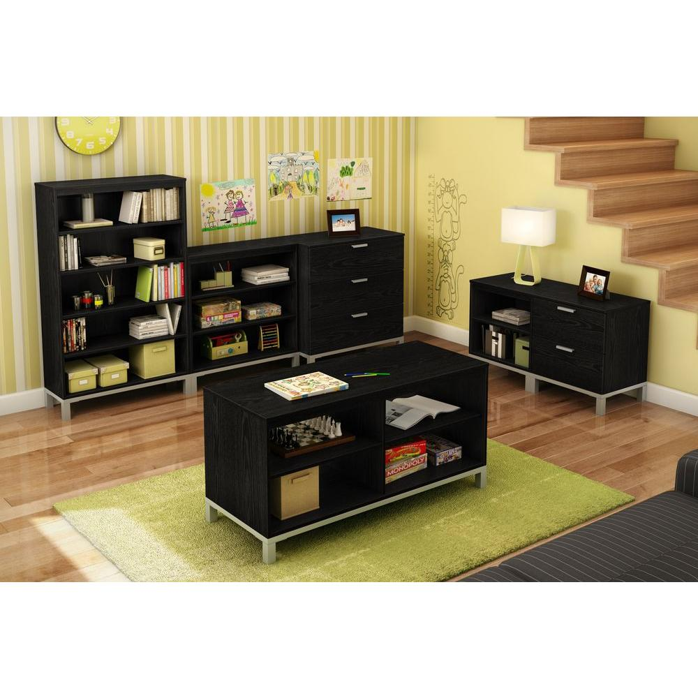 South Shore Flexible 2-Drawer and 2-Shelf Unit in Black Oak