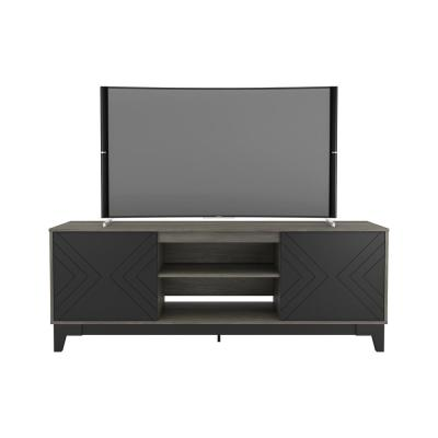 Arrow 71 in. Bark Gray and Black Engineered Wood TV Stand Fits TVs Up to 80 in. with Storage Doors