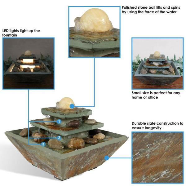 Sunnydaze Decor 8 In Ascending Slate Tabletop Fountain With Led Light Gsi 868 The Home Depot