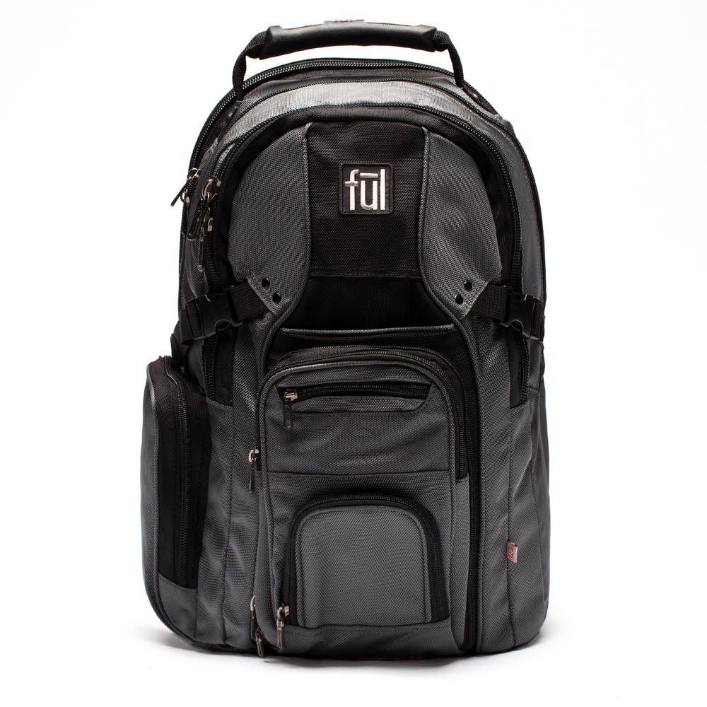 68220992e5 Ful Tennman Laptop Backpack 17 in. Black Grey Laptop Sleeve
