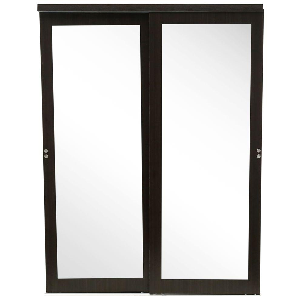 Mir Mel Mirror Solid Core Espresso Mdf Interior Closet Sliding Door With Matching Trim