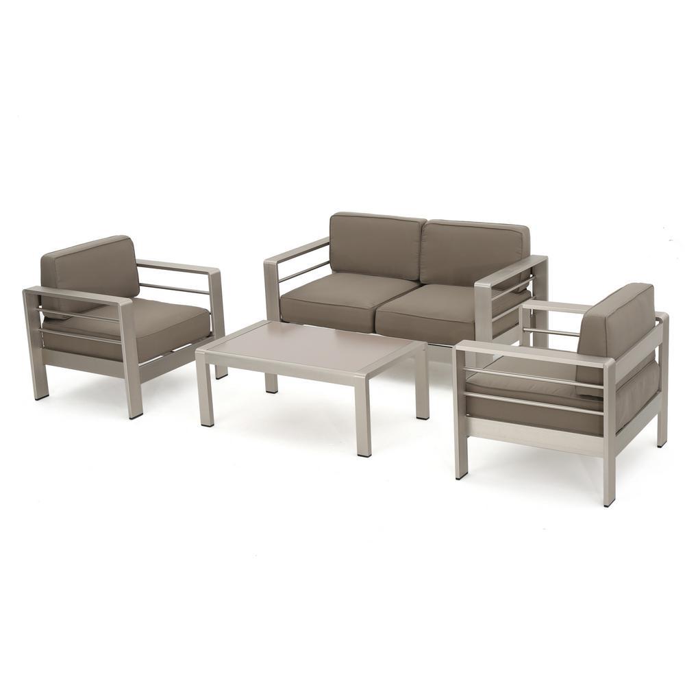 noble house cape coral sliver 4 piece aluminum patio conversation set 295662 the home depot. Black Bedroom Furniture Sets. Home Design Ideas
