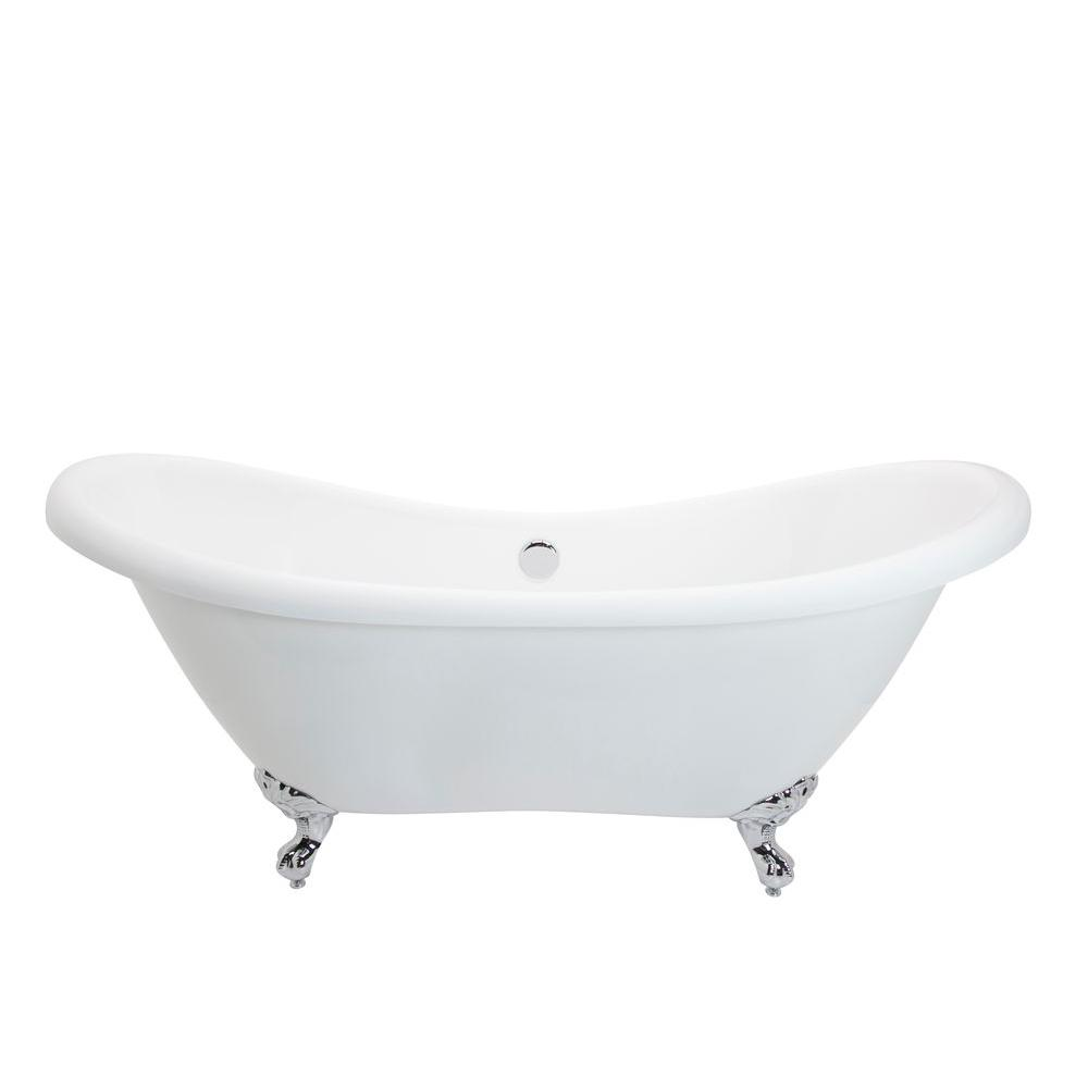 Aegis 5.7 ft. Acrylic Center Drain Freestanding Bathtub in Glossy White