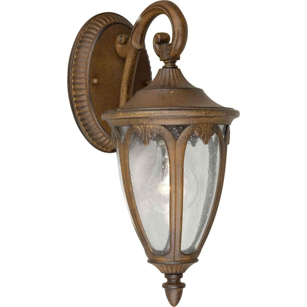 Talista 1-Light Outdoor Rustic Sienna Lantern with Clear Seeded Glass