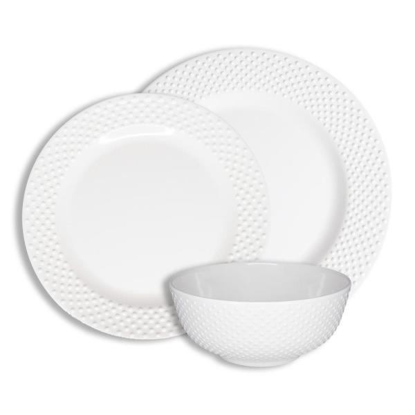 12-Piece Casual White Solid Swiss Dots Melamine Outdoor Dinnerware Set (Service for 4)