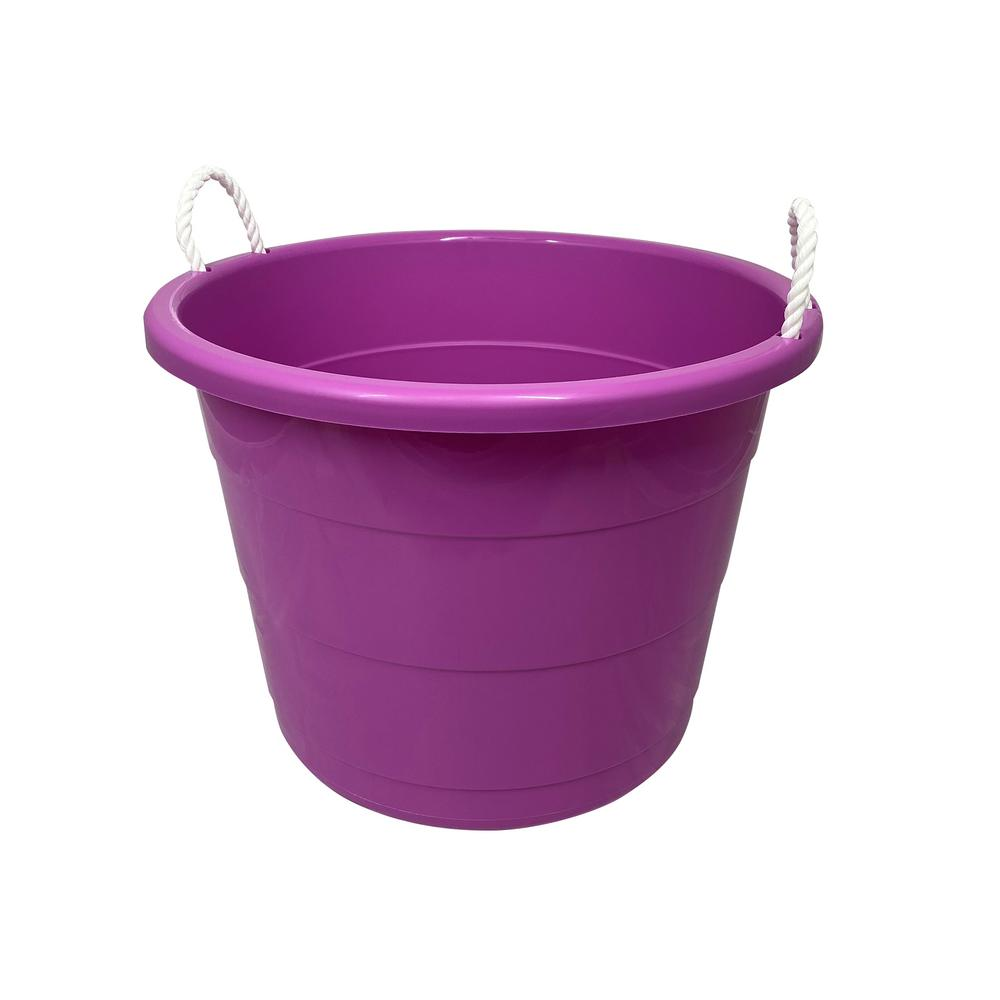 Homz 17 Gal Rope Handle Tub Storage Tote In Purple 2 Pack 0417plec 02 The Home Depot