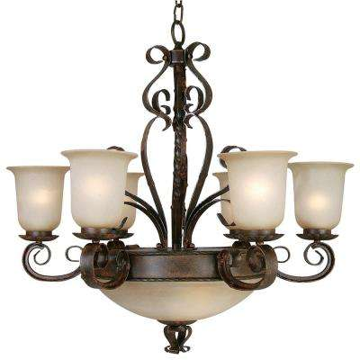 Gianni 9-Light Bronze Patina Chandelier with White Glass Shade