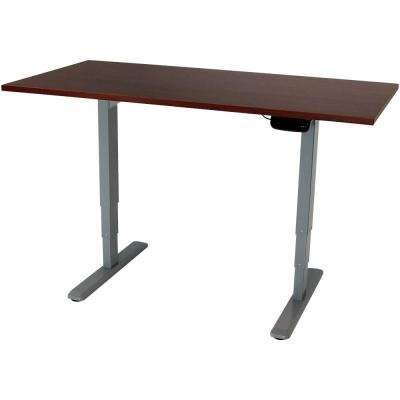 59 in. x 27 in. African Walnut Electric Standing Desk, Height-Adjustable Sit to Stand Up Workstation Programmable Memory