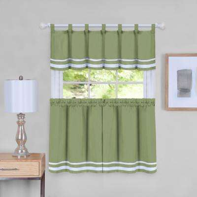 Dakota 58 in. W x 36 in. L Polyester Tier and Valance Curtain Set in Green