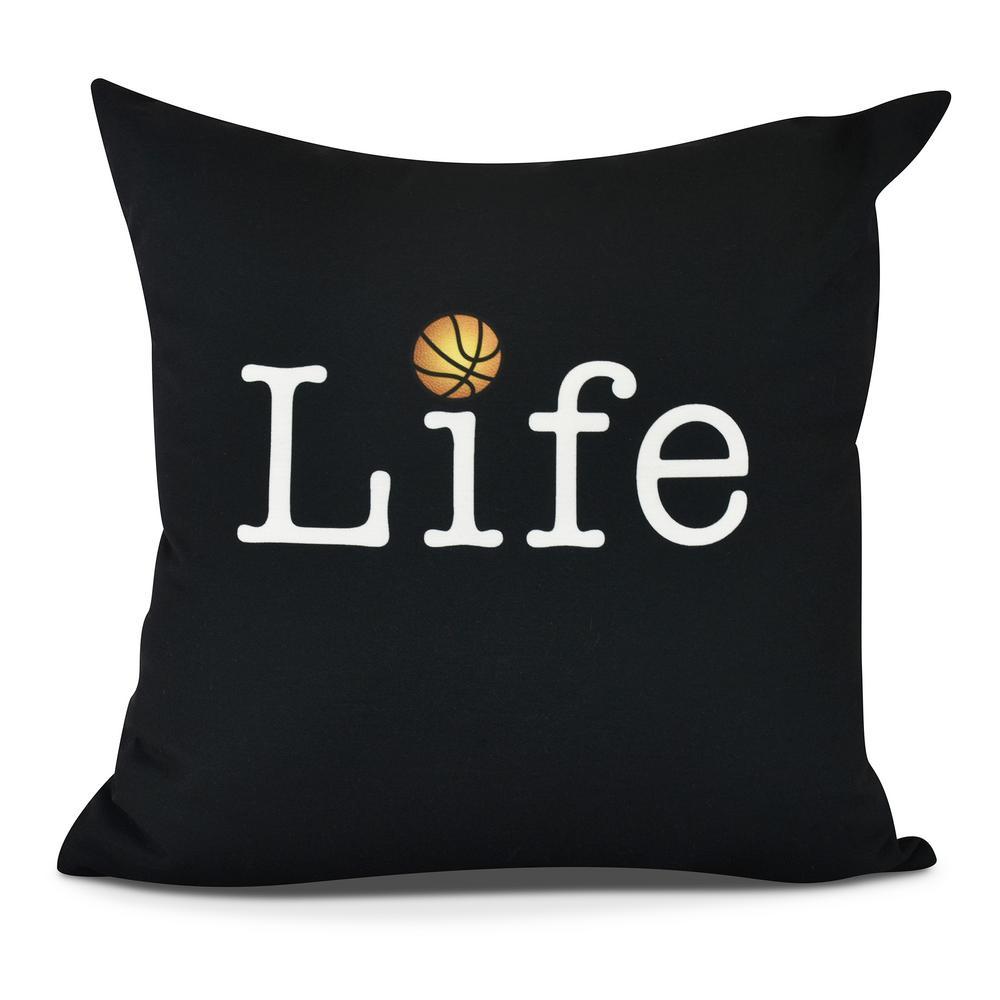 Life + Ball Word Print Decorative Pillow
