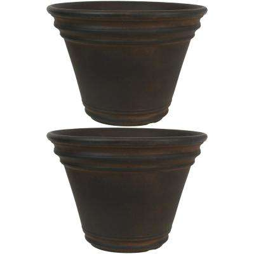13 in. Rust Stewart Resin Outdoor Flower Pot Planter (2-Pack)