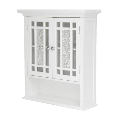 Winfield 22 in. W x 24 in. H x 7 in. D Bathroom Storage Wall Cabinet with Mosaic Glass in White