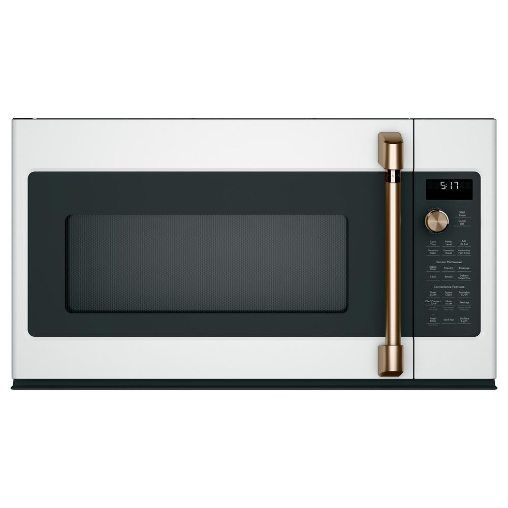 Cafe 1 7 Cu Ft Over The Range Convection Microwave With Sensor Cooking In Matte White Fingerprint Resistant
