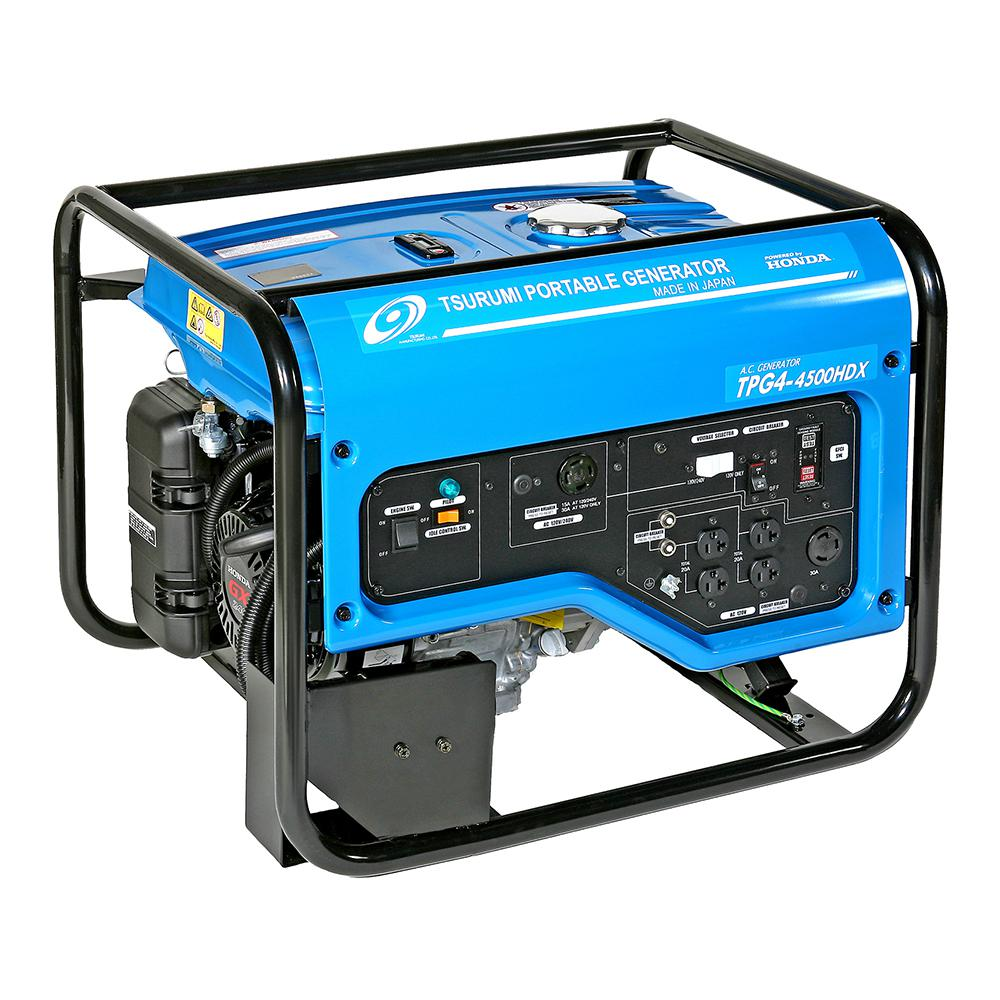 TSURUMI PUMP 3,600 Watt Gasoline Powered Portable Blue Generator with GFCI Protection and Honda GX240 Engine