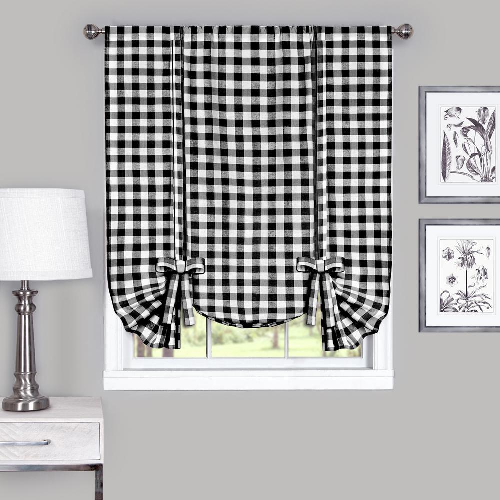 Achim 42 in. W x 63 in. L Buffalo Black Cotton Tie Up Shade Curtain