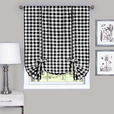 42 in. W x 63 in. L Buffalo Black Cotton Tie Up Shade Curtain