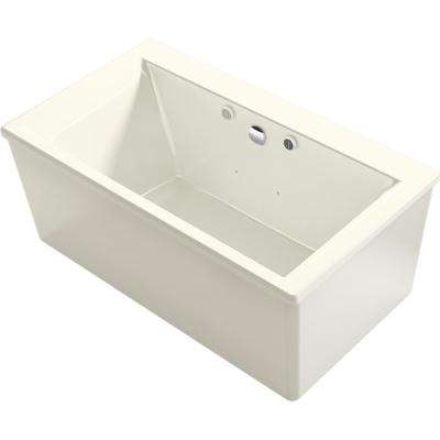 Stargaze 60 in. Acrylic Flatbottom Air Bath Bathtub with Straight Shroud and Basked Heated Surface in Biscuit