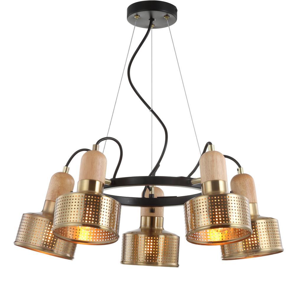 Gallery 24 in. 5-Light Adjustable Spotlight Metal LED Pendant, Brass Gold