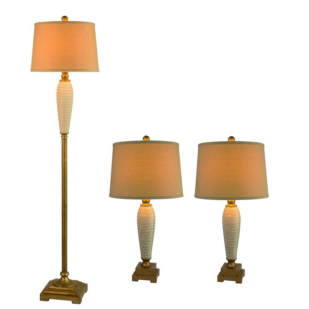 Fangio Lighting 63 in. 3-Piece Antique Gold Metal and Ivory Ceramic Lamp Set