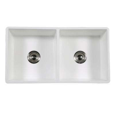 Clover Farmhouse Solid Surface White Stone 33 in. Double Bowl Kitchen Sink