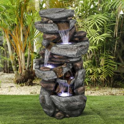 40 in. 5-Tier Outdoor Water Fountain with LED Lights