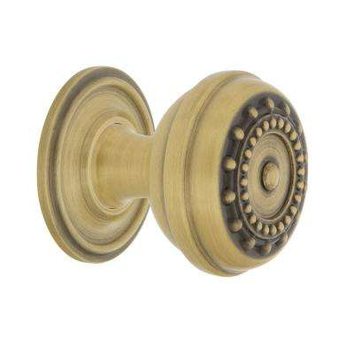 Meadows 1-3/8 in. Antique Brass Cabinet Knob with Classic Rose