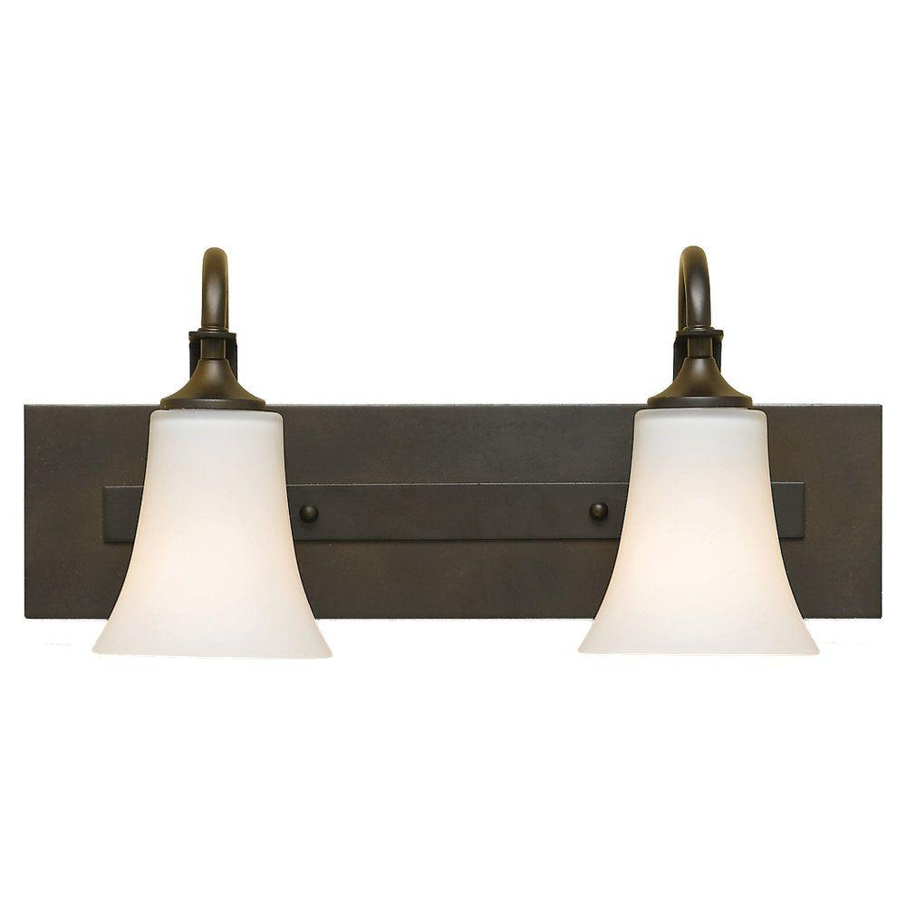 Sea Gull Lighting Barrington 18 in. W. 2-Light Oil Rubbed Bronze Vanity Light with Opal Etched Glass Shade