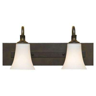 Barrington 18 in. W. 2-Light Oil Rubbed Bronze Vanity Light with Opal Etched Glass Shade