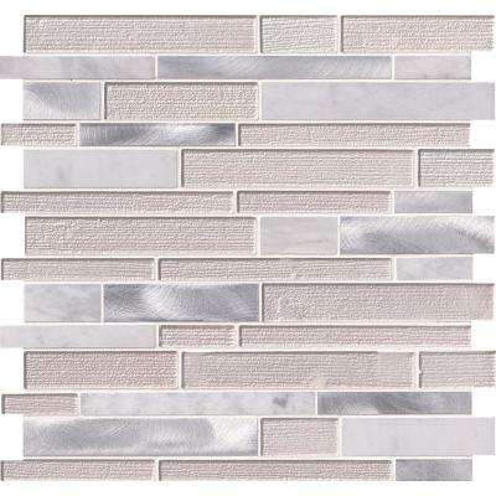 White Wave Interlocking 12 in. x 12 in. x 4 mm Glass/Stone/Metal Mesh-Mounted Mosaic Tile (1 sq. ft.)