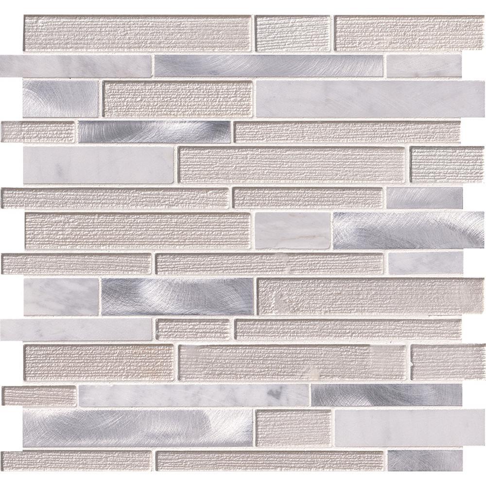 MSI MSI White Wave Interlocking 12 in. x 12 in. x 4 mm Glass/Stone/Metal Mesh-Mounted Mosaic Tile