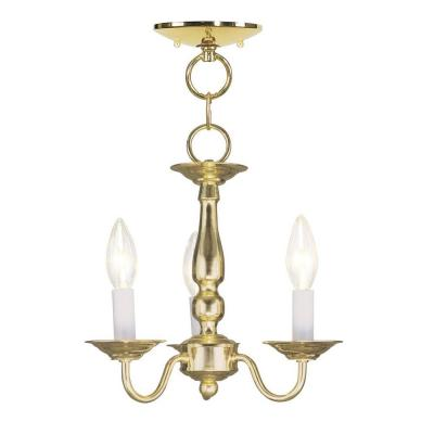 3-Light Polished Brass Chandelier