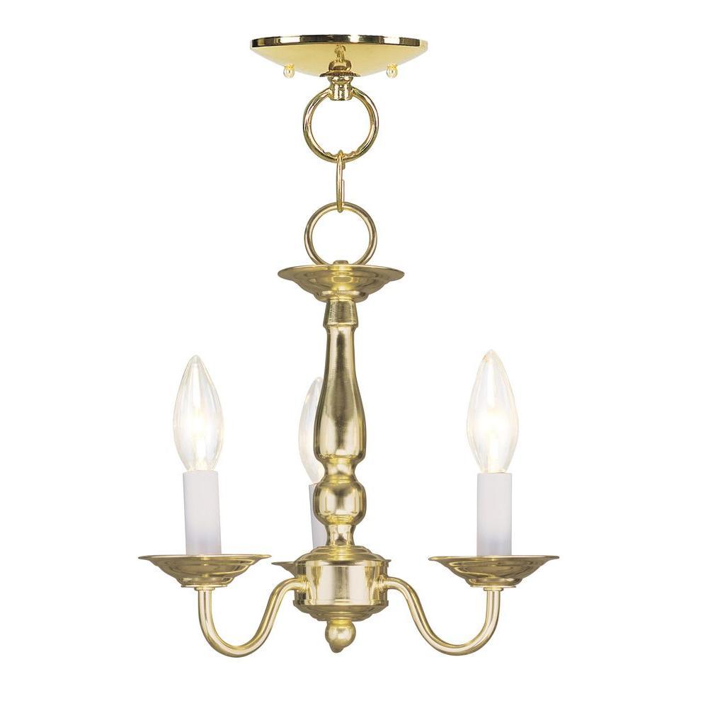 3-Light Polished Brass Chandelier