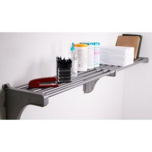 12 in. D x 41 in. to 74 in. W x 10.5 in. H Expandable Silver Steel Tubes with 1 End Bracket Shelf Only Closet System